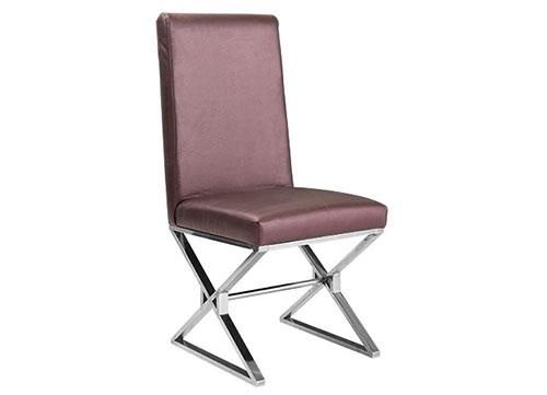 交叉脚不锈钢包布酒店椅