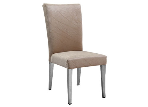 直脚弯背不锈钢包布酒店椅