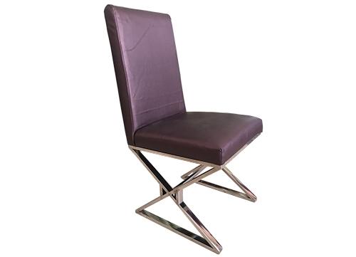 交叉脚不锈钢包布椅