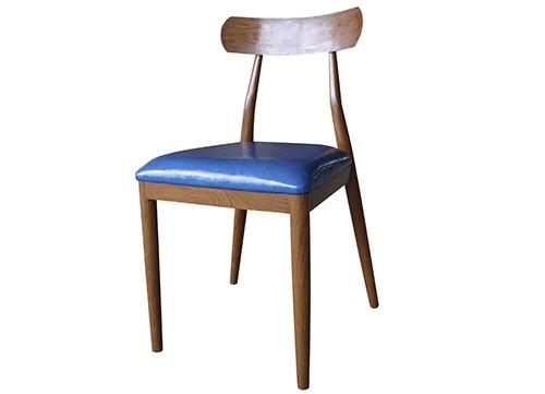 弯背椅蓝皮酒店椅